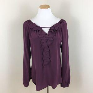 Fifteen Twenty Purple Long Sleeve Ruffle Blouse